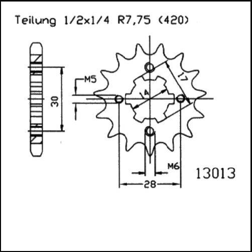 Kettenritzel 16Z - (420)