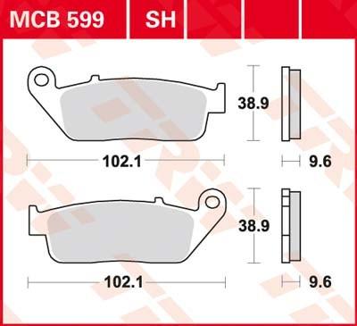 97/ Lucas TRW Bremsbel/äge MCB 599/F/ür HONDA VFR 750/F RC36/90 hinten