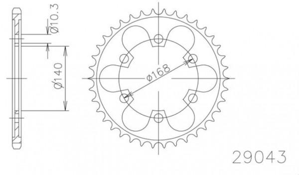 Kettenrad 41 42 47 Zähne (525) in Originalform (schwarz) Diamond-Cut gehärtet