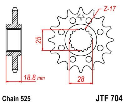 Kettenritzel CNC 15 16 17 Zähne (525)