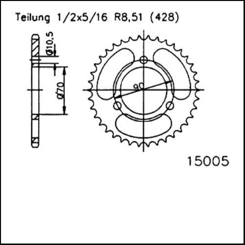 Kettenrad 45Z - (428)