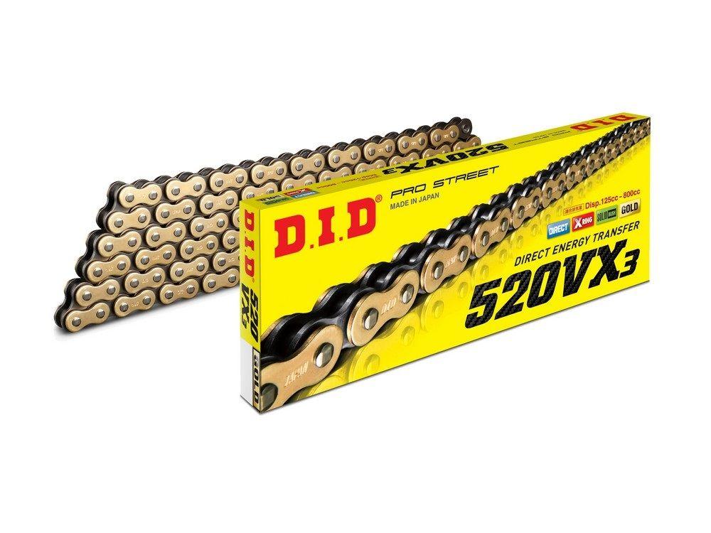 118 Glieder offen mit Nietschloss DID Kette 520 VT2 X-Ring gold