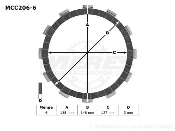 TRW Lucas Kupplungslamellenset (6 st.) Kawasaki MCC206-6 / MCC 206-6