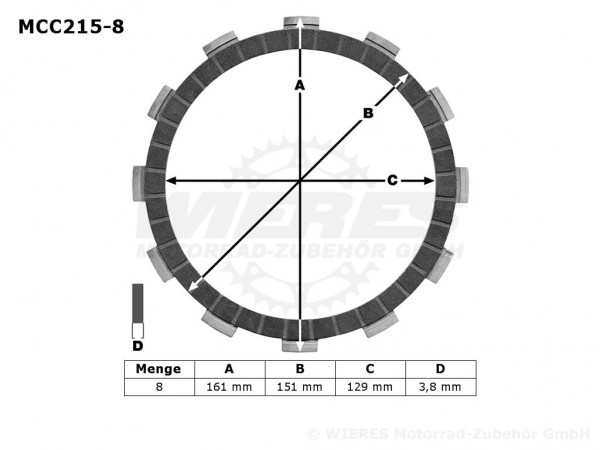 TRW Lucas Kupplungslamellenset (8 st.) Kawasaki MCC215-8 / MCC 215-8