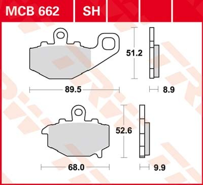MCB662, mcb 662: Lucas Hinterrrad Standard-Bremsbelag (Carbon-Keramik)