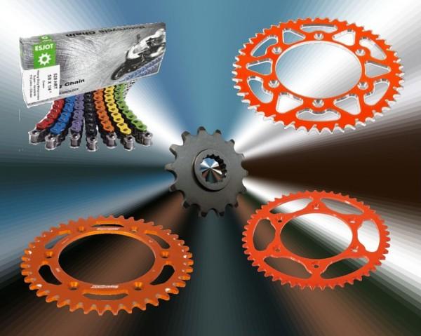 Esjot Kettensatz KTM 250 EXC TPi / Sixdays (Bj.18-) 520HRT Kette orange Alu Ultralight