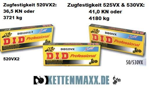 Motorradkette DID 104Gl - (525VX X-Ring extra verstärkt) G&B endlos