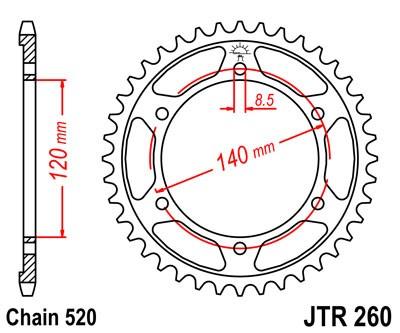 Kettenrad Stahl CNC 38 40 Zähne (520) Honda XL250, XR250
