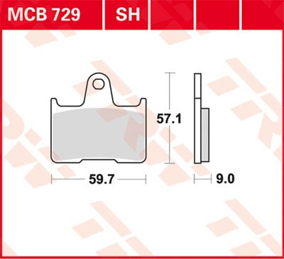 MCB729SH, mcb 729 sh: Lucas Hinterrrad SINTER-Bremsbelag