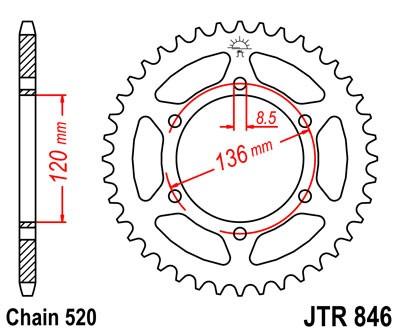 Kettenrad Stahl CNC 36 - 45 Zähne (520)