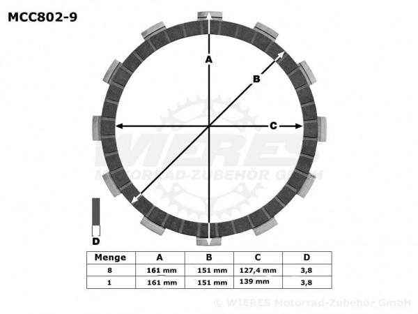 TRW Lucas Kupplungslamellenset (9 st.) Harley-Davidson MCC802-9 / MCC 802-9