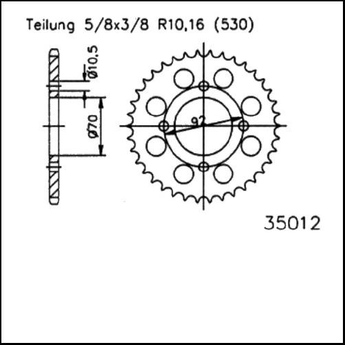 Kettenrad 45Z - (530)