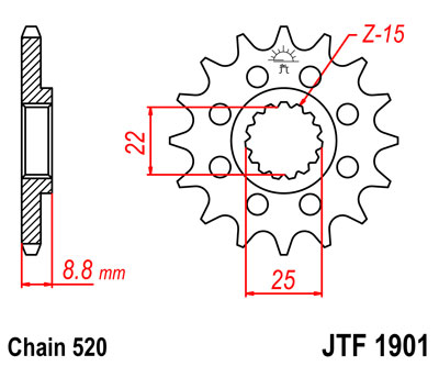 Stahl Ritzel KTM XC300 2T Bj.2012  520er 14 Zähne