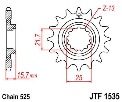 Kettenritzel CNC 14 15 Zähne - (525) Kawasaki ZX-6R