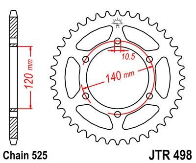 Kettenrad Stahl CNC 38 bis 46 Zähne - (525)