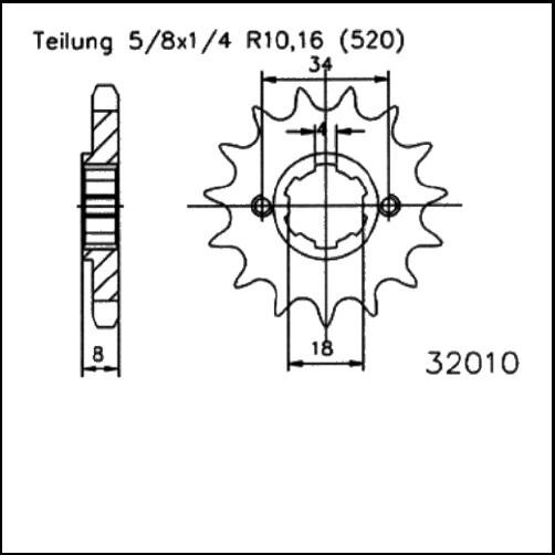 Kettenritzel 14Z - (520)