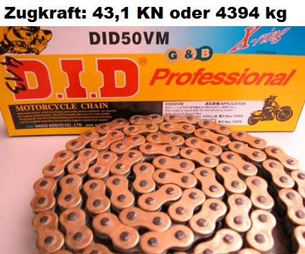 Motorradkette DID 100Gl - (530VX X-Ring extra verstärkt) G&B endlos