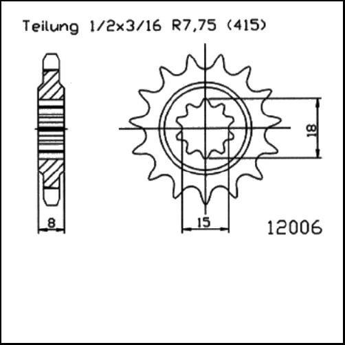 Kettenritzel 12Z - (415)