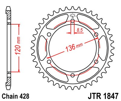 Kettenrad 46Z - 57Z (428)