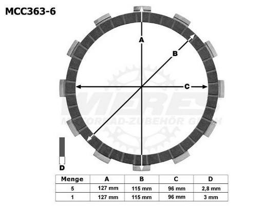 TRW Lucas Kupplungslamellenset (6 st.) Suzuki 250 LT-F Qzark MCC336-6 / MCC 336-6