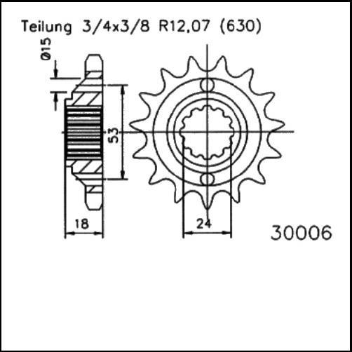 Kettenritzel 15Z - (630)