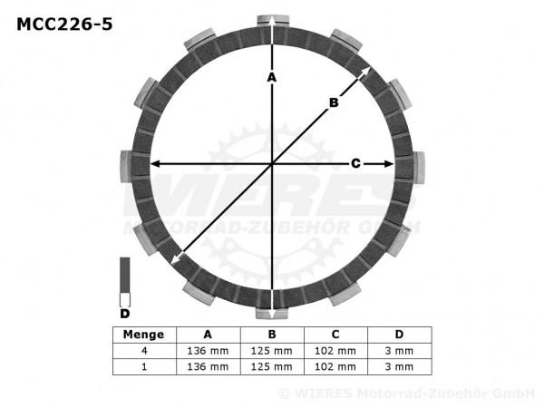 TRW Lucas Kupplungslamellenset (5 st.) Kawasaki MCC226-5 / MCC 226-5