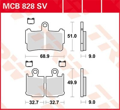 MCB828SV: Lucas SINTER-Scheibenbremsbeläge vorn MCB828SV