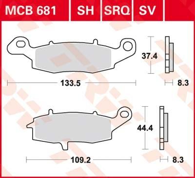 MCB681SV, mcb 681 sv: Lucas Vorderrad Sinterbelag rechts