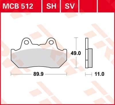 MCB512, mcb 512: Lucas Scheibenbremsbeläge vorn MCB512, mcb 512