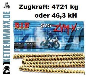 X-Ring-Motorradkette DID 525 ZVM-X G&G mit 120 Gliedern (super verstärkt, goldfarbig) offen