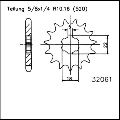 Kettenritzel 13Z - (520)
