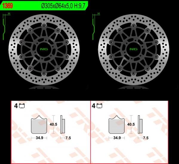 Bremsscheibenset + Beläge Set Satz Kit vorn KTM 990 Supermoto T (Bj.11-14)