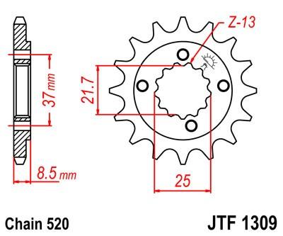 Kettenritzel Stahl CNC 13 14 15 16 Zähne (520) Honda XR600R XR650