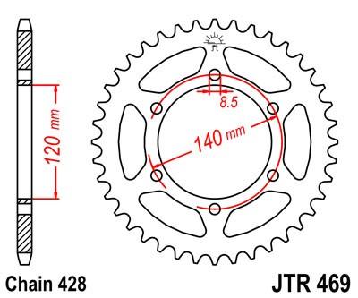 Kettenrad Stahl 44 53 Zähne (428) CNC Kawasaki 175 KV / KE