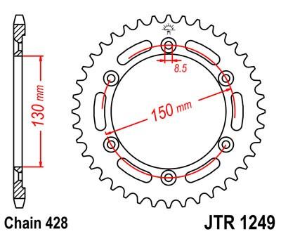 Kettenrad Stahl 51Z / 54Z (428)