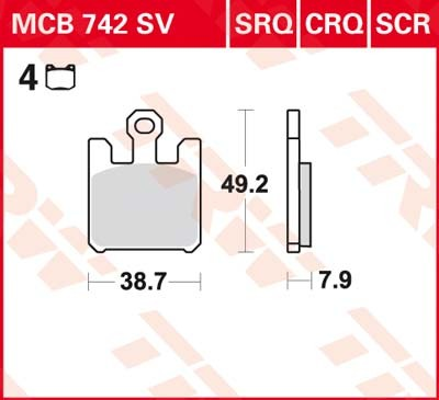 MCB742SV: Lucas-TRW/SBS Vorderrad Sinter-Bremsbelag