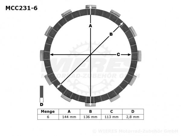 TRW Lucas Kupplungslamellenset (6 st.) Kawasaki MCC231-6 / MCC 231-6