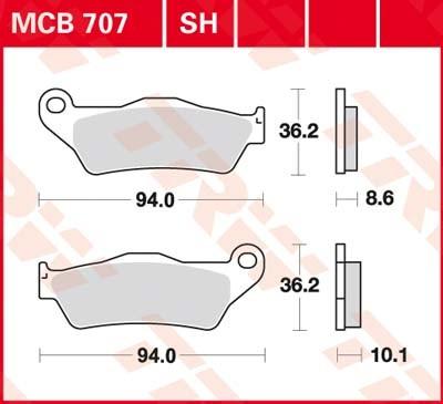 MCB707LF, mcb 707 lf: Lucas Hinterrrad Standard-Bremsbelag (Carbon-Keramik)