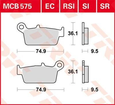 Lucas-TRW/SBS Hinterrrad Standard-Bremsbelag (Carbon-Keramik)